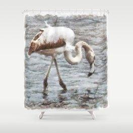 Knee Deep Flamingo Watercolor Shower Curtain
