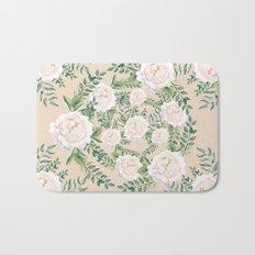 Garden Roses Mandala Pink Green Cream Bath Mat