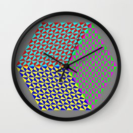 Hexagon of Colored Triangles Wall Clock