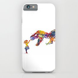 Girl and Dinosaur T-Rex Silhouette Colorful Watercolor iPhone Case