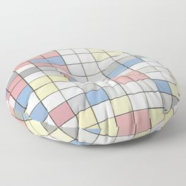 Composition with Grid IX by Piet Mondrian 1919 // Red Blue Yellow Gray Cube Abstract Square Pattern Floor Pillow