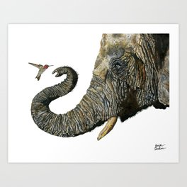 Elephant Cyril And Hummingbird Ayre 2 Art Print