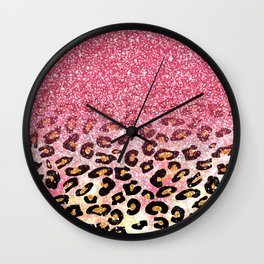 Cute girly trendy bubble gum pink faux glitter leopard animal print pattern Wall Clock