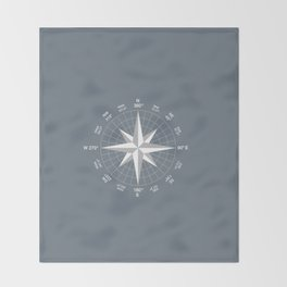 Compass in White on Slate Grey color Throw Blanket