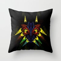 majora Throw Pillows featuring MAJORA MASK majora mask by Veylow