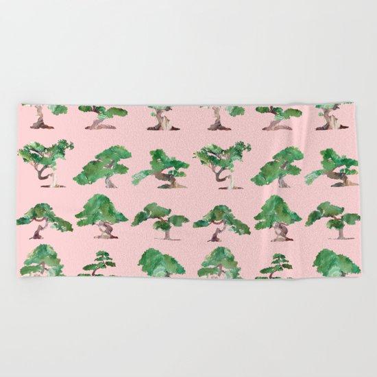 Bonsais Pink Beach Towel