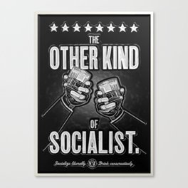 """Vintage """"The Other Kind of Socialist"""" Alcoholic Lithograph Advertisement in shiny silver Canvas Print"""