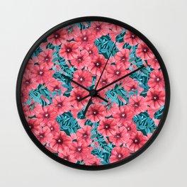 Red watercolor petunia flower pattern Wall Clock