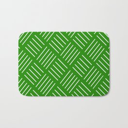 Abstract geometric pattern - green and white. Bath Mat