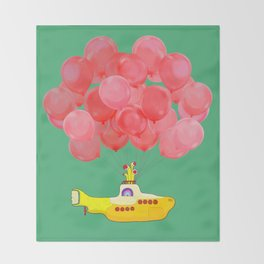 Flying Submarine with Red Balloons in Green Throw Blanket