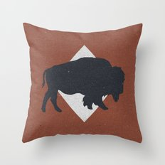 Bison & Blue Throw Pillow