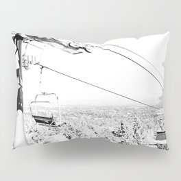 Chairlift // Mountain Ascent Black and White City Photograph Pillow Sham