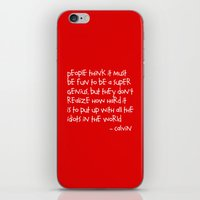 hobbes iPhone & iPod Skins featuring Calvin and Hobbes quote by Dustin Hall