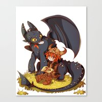 how to train your dragon Canvas Prints featuring How to Train your dragon! by SweetOwls