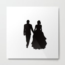 Wedding Couple Silhouette Design For Weddings Metal Print