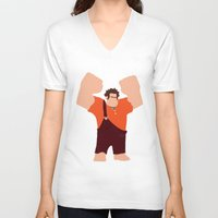 wreck it ralph V-neck T-shirts featuring Wreck-It Ralph by George Hatzis