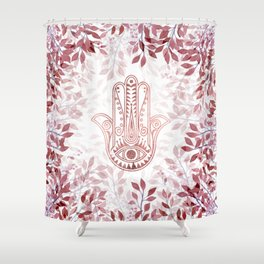 Modern burgundy faux rose gold Hamsa Hand of Fatima floral Shower Curtain