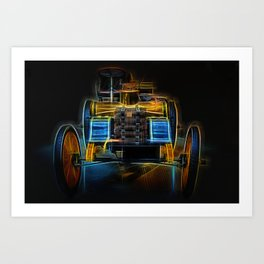 Fractal Car Neon Light Art Print