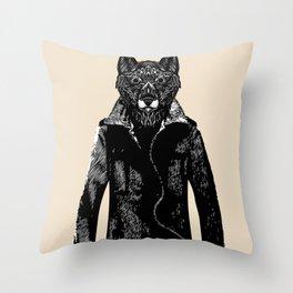DapperWolf Throw Pillow