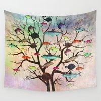 tree of life Wall Tapestries featuring tree by mark ashkenazi