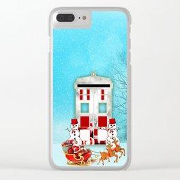 Tardis Santa Clear iPhone Case