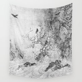 Landscape with Rapids BW Wall Tapestry