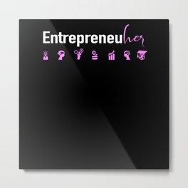 Female Entrepreneur CEO Business Girl Boss Strong Metal Print
