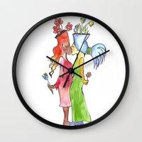 lesbian Wall Clocks featuring lesbian flower women kiss by Nehalennia