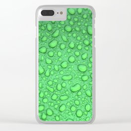 Green Raindrops HDR Clear iPhone Case