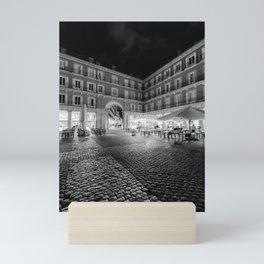 Night Time at the Plaza Mayor of Madrid BW Mini Art Print