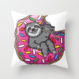 Sloth Music Donut Throw Pillow