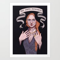 sansa stark Art Prints featuring Sansa by Sara Meseguer