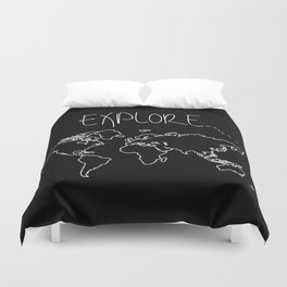 Explore World Map Duvet Cover