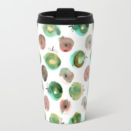 Watercolor seamless hand drawn pattern with green and brawn apples Travel Mug