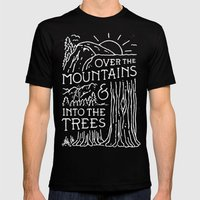 OVER THE MOUNTAINS (BW) Mens Fitted Tee MEDIUM Black