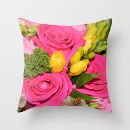 Bouquet of Hot Pink Roses Throw Pillow
