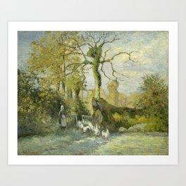 Camille Pissarro - The Goose Girl at Montfoucault (White Frost) Art Print