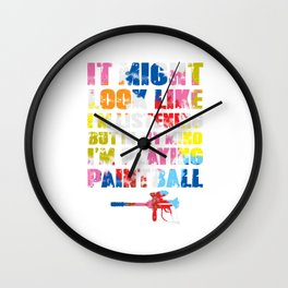 Paintball Player Shooting Paint Gun Colorful Gift Wall Clock