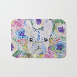 Abstract French bulldog floral watercolor paint Bath Mat
