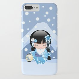 Japanese Winter Kokeshi Doll at Blue Mountain iPhone Case