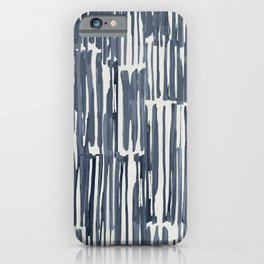 Simply Bamboo Brushstroke Indigo Blue on Lunar Gray iPhone Case