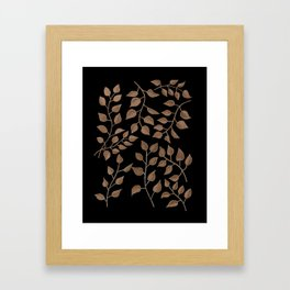 Gold Branches on Black Framed Art Print