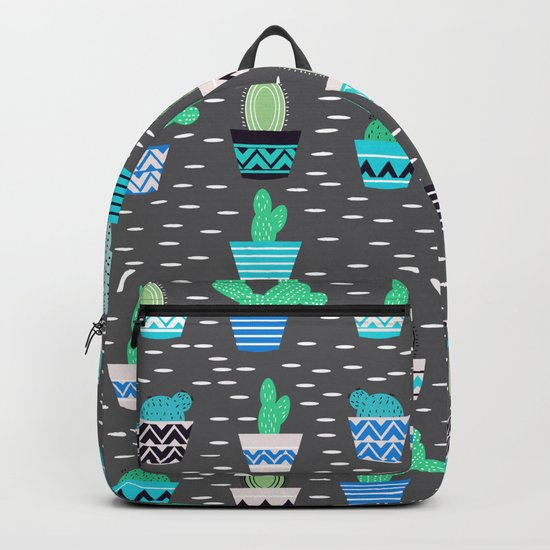 Potted cacti on a gray background Backpack