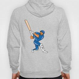 India Cricket Player Batsman Batting Cartoon Hoody