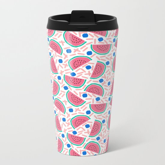 Slicer - watermelon tropical fruit summer spring pattern nature children retro bright happy 1980s  Metal Travel Mug
