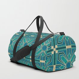 Art Deco Flowers in Teal and Faux Gold Duffle Bag