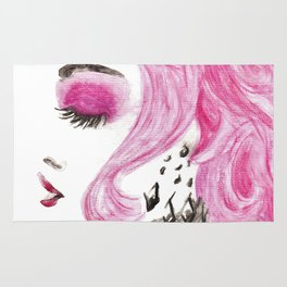 Fashion Illustration Portrait Watercolorpencil Rug