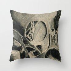 Skull in Scrapyard Throw Pillow