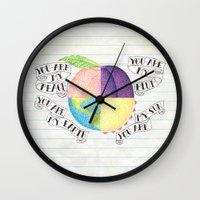 peach Wall Clocks featuring Peach by Larissa