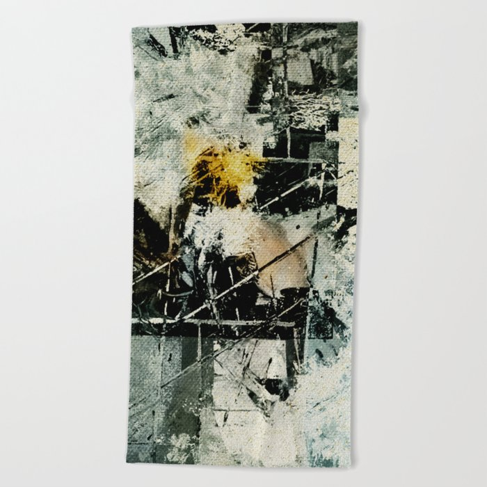 Lighthouse in Storm Beach Towel